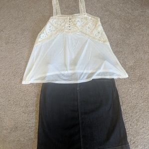 Old Navy jeans skirts & lace tank top